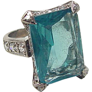 Vintage Sterling Silver Faux Blue Topaz and Faux Diamond Ring