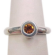 Vintage Sterling Silver Faux Citrine Ring