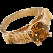 Vintage 14k Gold Faux Citrine Ring Charm ~ November Birthstone