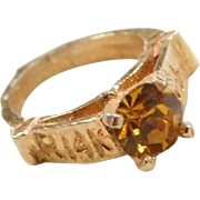 Vintage 14k Gold Faux Citrine Ring Charm ~ November Birthstone