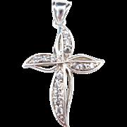 Sterling Silver Faux Diamond Cross Pendant