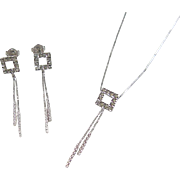 Vintage 14k White Gold Faux Diamond Earring and Necklace Set
