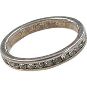 Sterling Silver Faux Diamond Eternity Band Ring Size 7 1/2