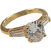 Gold Vermeil Faux Diamond Ring ~ Sterling Silver