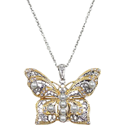 Vintage Sterling Silver Gold Tone Faux Diamond and Cultured Pearl Butterfly Necklace