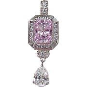 Vintage Sterling Silver Faux Diamond and Pink Topaz Pendant