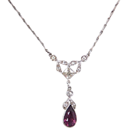Edwardian Sterling Silver Faux Diamond and Purple Paste Antique Lavalier Necklace ~ 17 1/4""