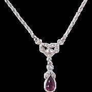 "Edwardian Sterling Silver Faux Diamond and Purple Paste Antique Lavalier Necklace ~ 17 1/4"""