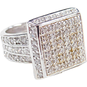 Sterling Silver Faux Diamond Square Top Ring