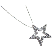"""Vintage Sterling Silver Faux Diamond Star Necklace ~ 18"""""""