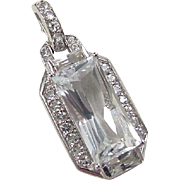 Sterling Silver White Topaz and Faux Diamond Pendant