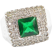 Sterling Silver Faux Emerald and Faux Diamond Ring