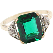 Art Deco 10k Gold Two-Tone Faux Emerald Ring