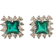 Sterling Silver Faux Emerald and Faux Diamond Halo Earrings