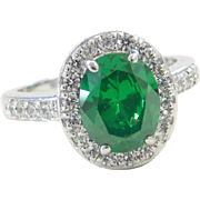 Sterling Silver Faux Emerald and Faux Diamond Halo Ring