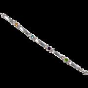 Vintage Sterling Silver Faux Gem Stone Bracelet