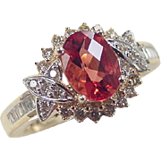 Vintage 14k Gold 1.79 ctw Faux Orange Sapphire and Diamond Ring