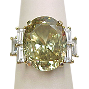 Vintage Gold Vermeil Peridot and Faux Diamond Ring