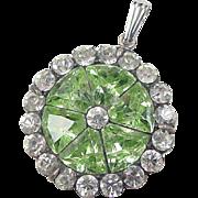 Vintage Sterling Silver Faux Peridot and Faux Diamond Pendant