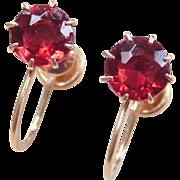 Vintage 10k Gold Faux Ruby Screw Back Earrings
