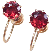 Vintage 10k Gold Faux Ruby Screw Back Earrings