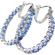 Sterling Silver Faux Tanzanite Inside and Out Hoop Earrings