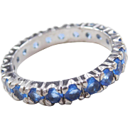 Sterling Silver Faux Tanzanite Eternity Band Ring
