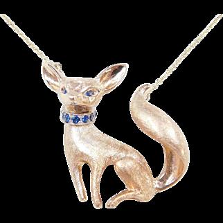 Adorable 14k Gold Fennec Fox Necklace ~ Sapphire Accents