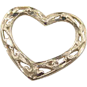 Vintage 14k Gold Filigree Heart Charm / Pendant