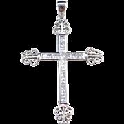 Sterling Silver Big Faux Diamond Filigree Cross Pendant