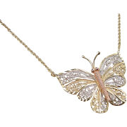 Vintage 14k Gold Tri-Color Filigree Butterfly Pendant 17""