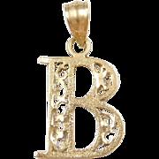 Vintage 14k Gold Filigree Letter B Charm / Pendant