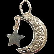 Vintage 14k Gold Filigree Moon and Star Charm