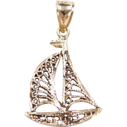 Vintage 14k Gold Filigree Sailboat Charm