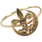 Edwardian Fleur De Lis and Crescent Moon Seed Pearl Ring ~ Converted Stick Pin