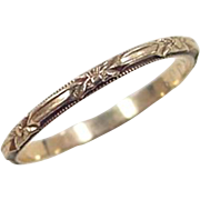 Vintage 14k Gold Etched Floral Band Ring