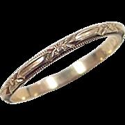 Vintage 14k Gold Etched Floral Band Ring
