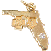 Vintage 14k Gold State of Florida Charm with Medical Symbols ~ First Responders / Red Cross, Caduceus ~ Diamond Accent