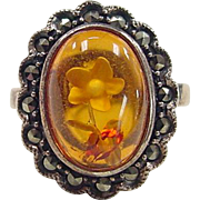Vintage Sterling Silver Flower Amber and Marcasite Ring