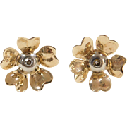 Vintage 14k Gold Two-Tone Flower Stud Earrings