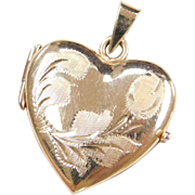Vintage 14k Gold Flower Heart Locket Pendant
