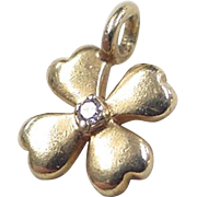 Vintage 14k Gold Four Leaf Clover Charm with Diamond Accent