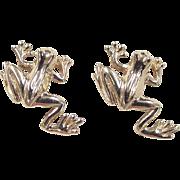 Vintage 14k Gold Frog Stud Earrings