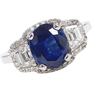 GIA Certified 2.60 Carat Natural Sapphire in .98 ctw Diamond Engagement Ring 18k White Gold