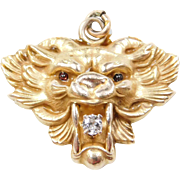 Victorian 10k Gold Gargoyle Pendant ~ Garnet and Diamond Accent