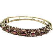 Vintage 14k Gold Garnet Hinged Bangle Bracelet