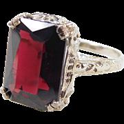 Filigree Art Deco 14k White Gold Garnet Ring