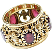 Victorian Revival 14k Gold 5.00 ctw Ornate Garnet Cigar Band Ring