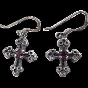 Vintage Sterling Silver Garnet Cross Earrings