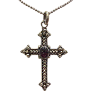 Vintage Sterling Silver Garnet Cross Necklace